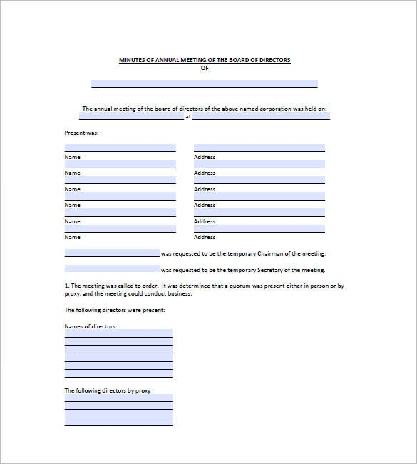 board meeting minutes template pdf