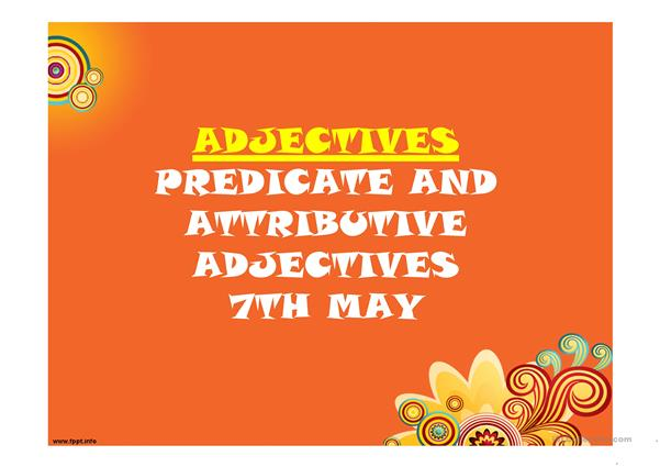 attributive and predicative adjectives exercises pdf