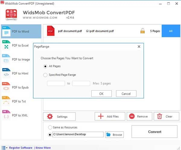 insert multipage pdf into word