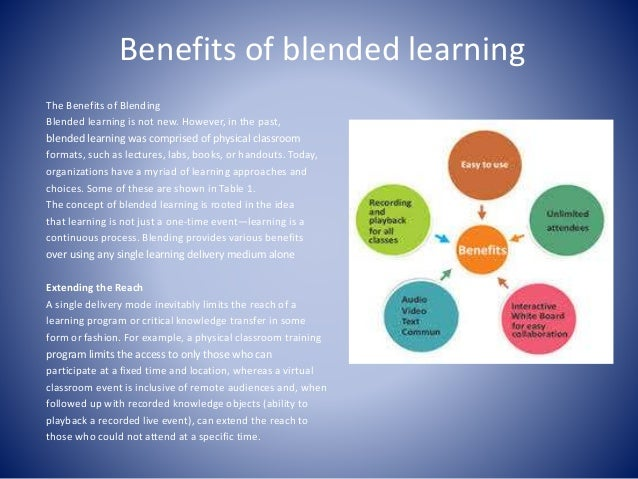 advantages of blended learning pdf