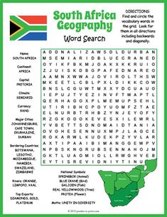 geography terms word search pdf