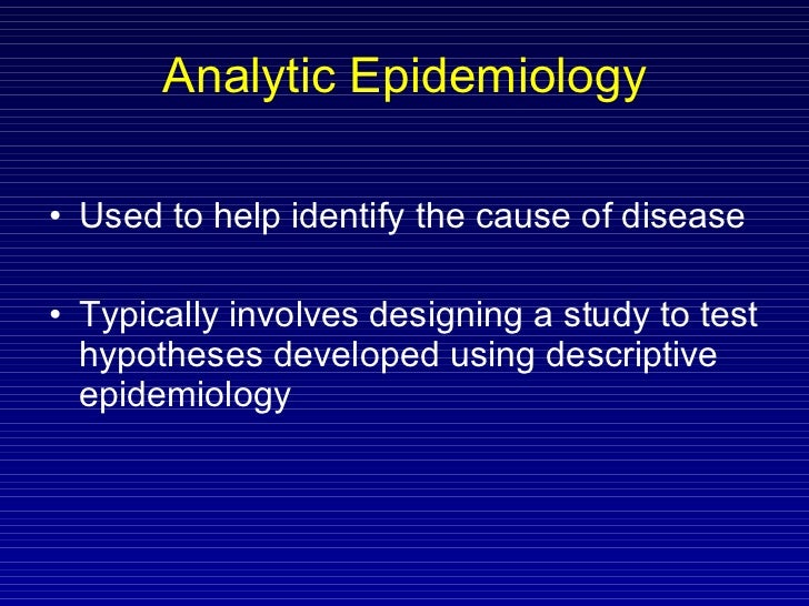 descriptive and analytical epidemiology pdf