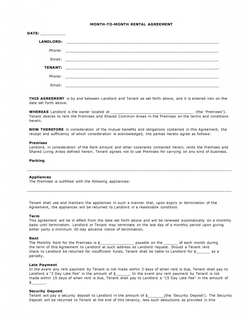 simple month to month rental agreement pdf