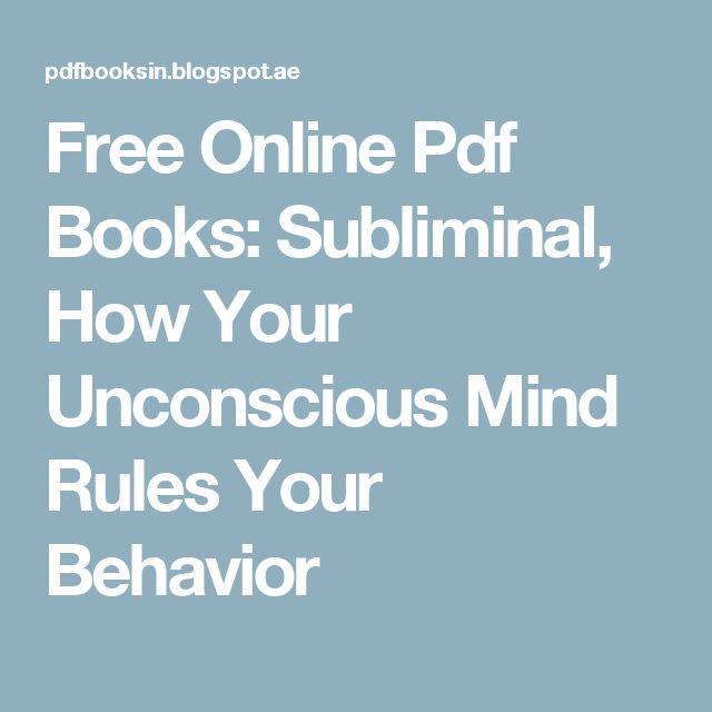 subliminal how your unconscious mind rules your behavior pdf