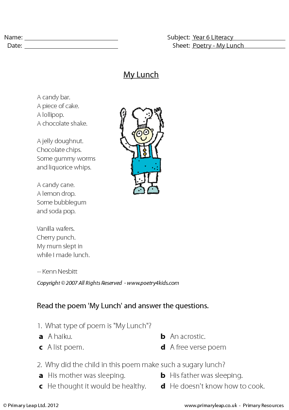 poem comprehension for grade 4 pdf