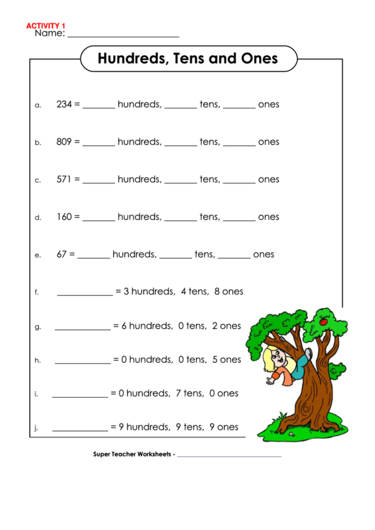hundreds tens and ones worksheets pdf